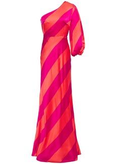 Saloni Woman Lily One-shoulder Striped Silk-satin Gown Papaya