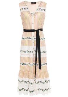 Saloni Woman Lorna Embroidered Lace-paneled Striped Cotton-poplin Midi Dress Pastel Orange