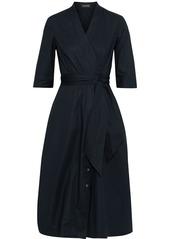 Saloni Woman Mae-b Wrap-effect Cotton-blend Poplin Midi Dress Navy