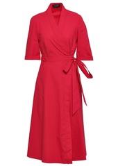 Saloni Woman Mae Cotton-blend Poplin Midi Wrap Dress Crimson