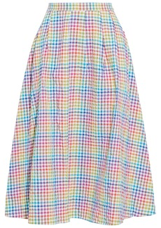 Saloni Woman Naomi B Pleated Gingham Seersucker Midi Skirt Multicolor