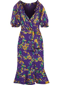 Saloni Woman Olivia Wrap-effect Fil Coupé Silk-blend Chiffon Dress Violet