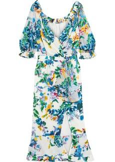 Saloni Woman Olivia Wrap-effect Floral-print Devoré-chiffon Midi Dress Ivory