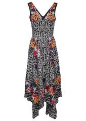 Saloni Woman Zuri Asymmetric Printed Silk Crepe De Chine Dress Black