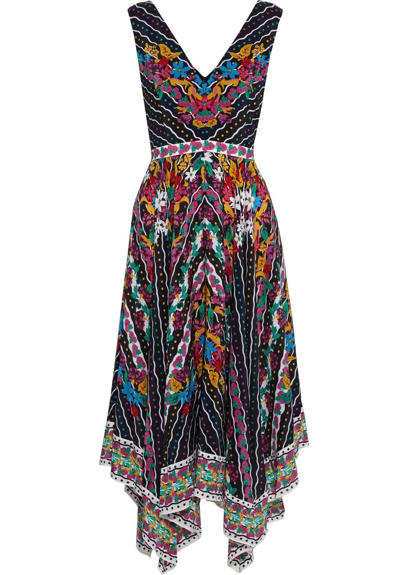 Saloni Woman Zuri Asymmetric Printed Silk Crepe De Chine Dress Multicolor
