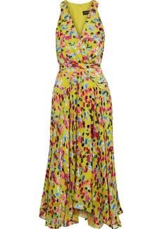 Saloni Woman Rita D Wrap-effect Printed Devoré-chiffon Midi Dress Yellow