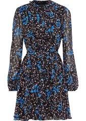 Saloni Woman Ruffled Floral-print Silk-georgette Mini Dress Black