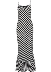 Saloni Woman Stella Fluted Striped Crepe De Chine Maxi Dress Black