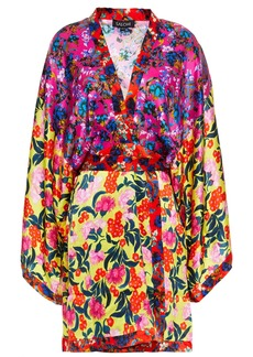 Saloni Woman Suki Wrap-effect Paneled Floral-print Silk-satin Mini Dress Multicolor