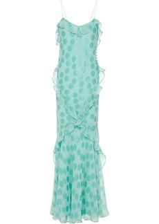 Saloni Woman Tamara Ruffled Fil Coupé Silk-blend Maxi Slip Dress Mint