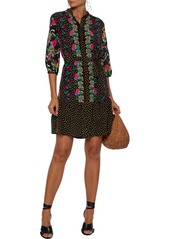 Saloni Woman Tyra Printed Silk Crepe De Chine Mini Dress Black