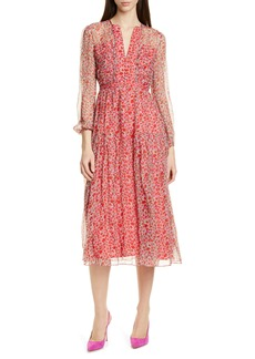 SALONI Yasmeen Floral Long Sleeve Silk Midi Dress