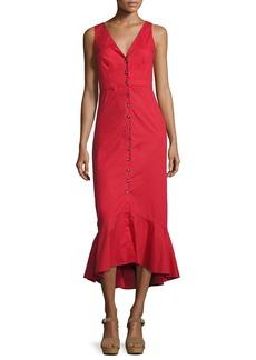 Saloni Zoey Cutout Button-Front Midi Cocktail Dress