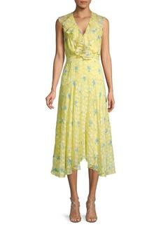 Saloni Silk Blend Ruffled Floral Midi Dress