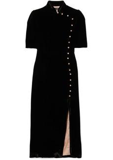 Saloni Venyx Taro Button-embellished Velvet Midi Dress