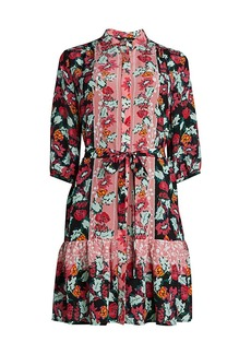 Saloni Trya Floral Silk Shirtdress