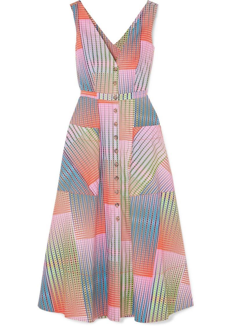 Saloni Zoey Cutout Printed Cotton-poplin Dress