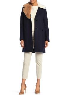 Sam Edelman Asymmetrical Faux Fur Trim Wool Blend Coat