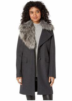Sam Edelman Asymmetrical Faux Fur Walker Coat