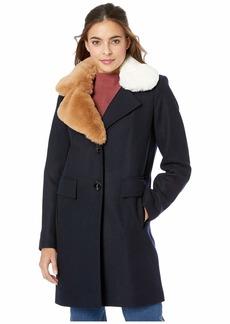Sam Edelman Asymmetrical Faux Fur Walker w/ Two-Tone Fur Collar