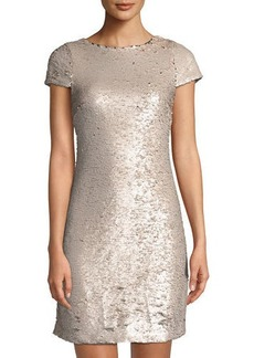 Sam Edelman Cap-Sleeve Sequin Cocktail Dress