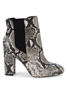 Sam Edelman Case Snake-Print Leather Booties