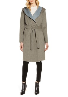 Sam Edelman Double Face Wool Blend Wrap Coat with Hood