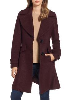 Sam Edelman Notch Lapel Button Fit & Flare Coat