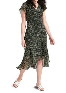 Sam Edelman Floral-Print Side-Ruched Chiffon Dress