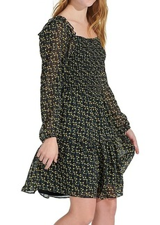 Sam Edelman Floral Smocked Long-Sleeve Dress