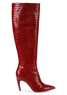 Sam Edelman Fraya Croc-Embossed Leather Knee-High Boots