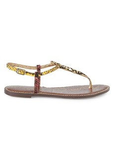 Sam Edelman Gigi Snake Embossed Leather & Calf Hair T-Strap Flat Sandals