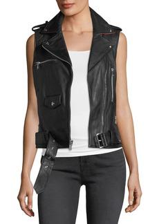 Sam Edelman Leather Moto-Style Vest