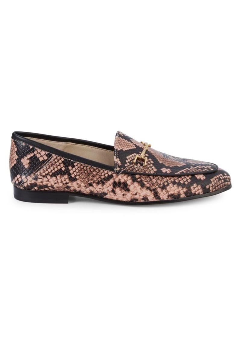 Loraine Snakeskin-Printed Bit Loafers