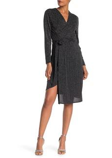 Sam Edelman Metallic Faux Wrap Knit Dress