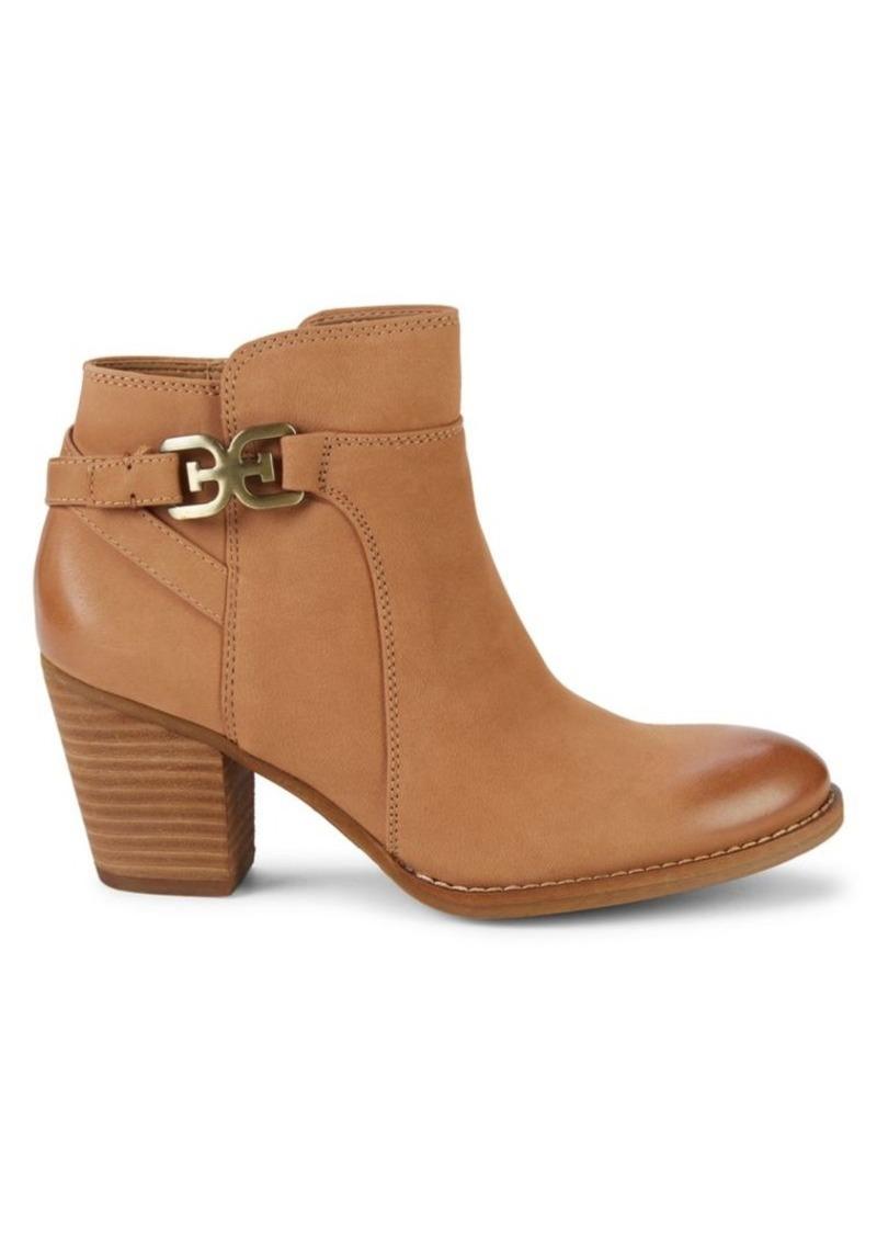 Sam Edelman Morgon Stacked-Heel Leather Booties