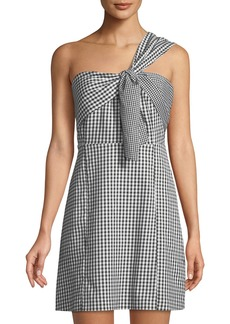 Sam Edelman One-Shoulder Gingham Mini Dress