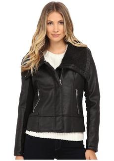 Sam Edelman PU w/ Oversize Sherpa Collar Moto Jacket