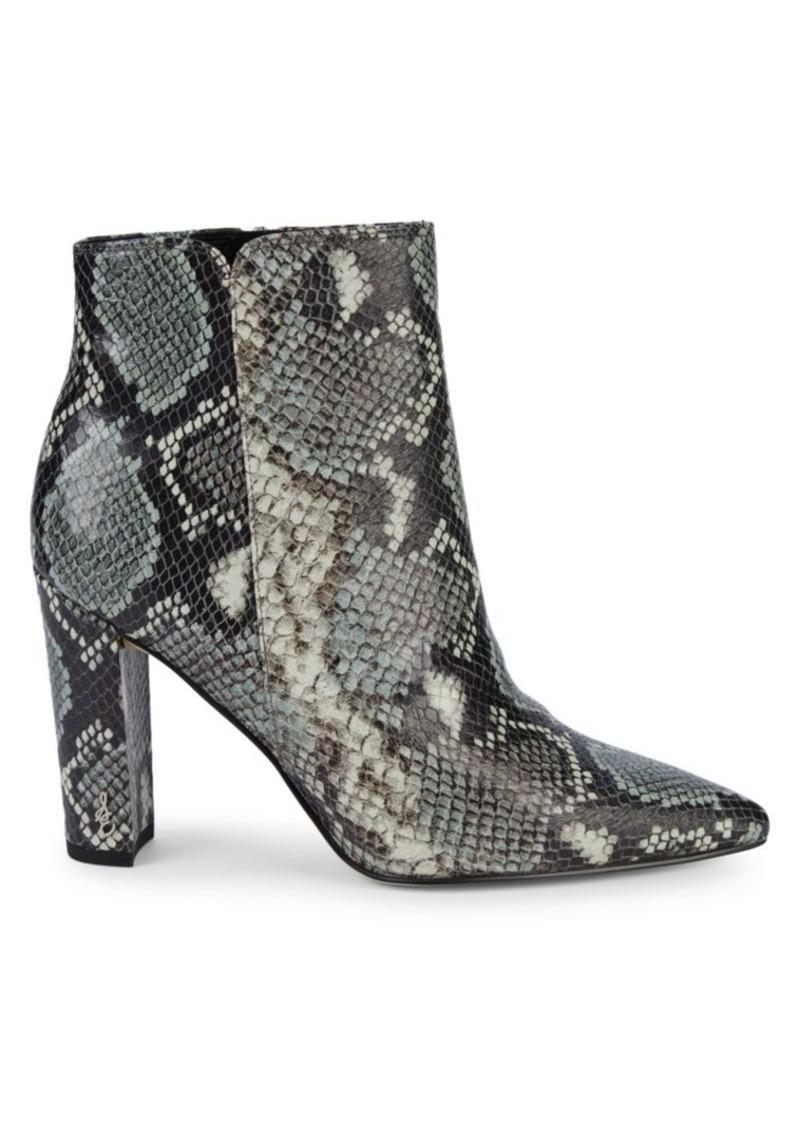 Sam Edelman Raelle Snake-Print Leather Booties