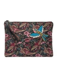 Sam Edelman Rhea Bird Brocade Top Zip Clutch