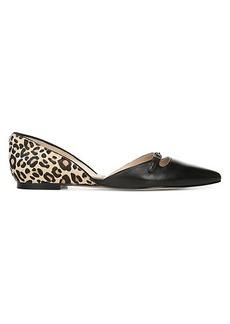 Sam Edelman Rina Leather & Leopard-Print Calf Hair d'Orsay Flats