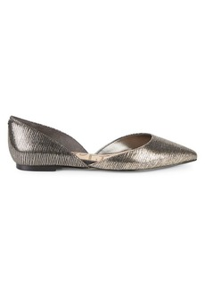 Sam Edelman Rodney Textured Metallic-Leather Point-Toe Flats