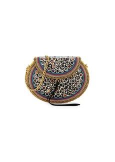 Sam Edelman Rubie Embellished Leather-Trimmed Crossbody Bag