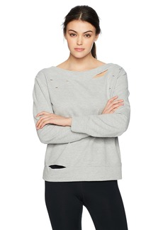 Sam Edelman Active Women's Boatneck Sweatshirt with Rips  XL