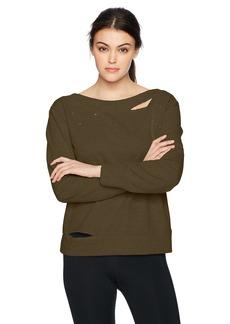 Sam Edelman Active Women's Boatneck Sweatshirt With Rips  XS