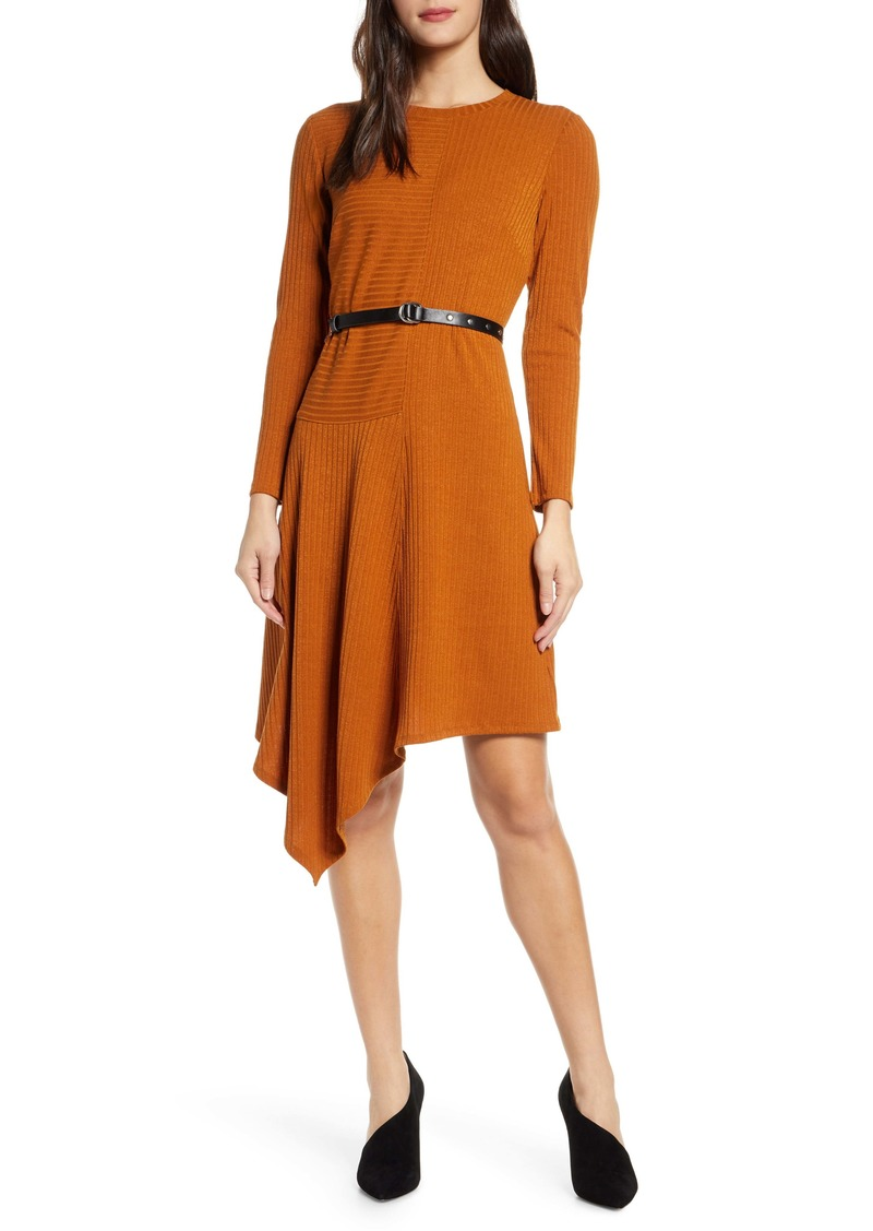 Sam Edelman Asymmetrical Long Sleeve Knit Dress