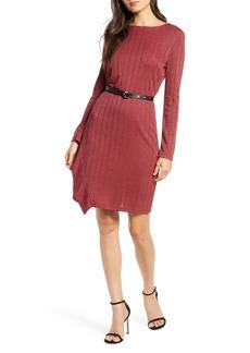 Sam Edelman Asymmetrical Ruffle Long Sleeve Knit Dress