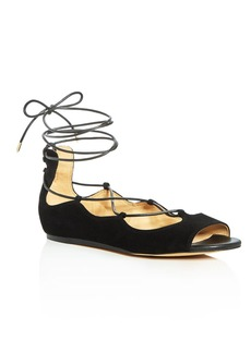 Sam Edelman Barbara Lace Up Peep Toe Low Heel Flats