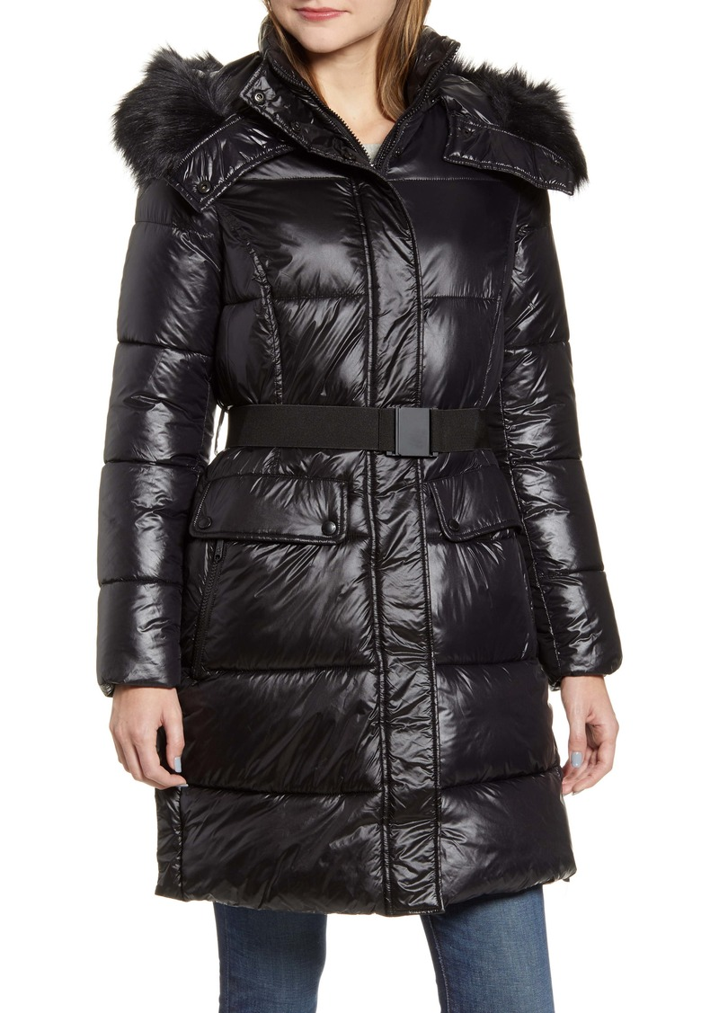 Sam Edelman Belted Faux Fur Detail Hooded Puffer Coat