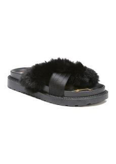 Sam Edelman Bianca Satin and Faux Fur Pool Slide Sandals